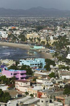 Mexico, Sinaloa State, Mazatlan, Playa Norte Beach from Cerro de la Neveria Hill,