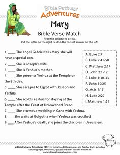 Printable bible verse match: Mary, mother of Yeshua. Free Bible Homeschool and Sunday School worksheet. Sunday School Kids, Sunday School Activities, Bible Activities, Sunday School Lessons, Church Activities, Bible Games, Christmas Activities, Bible Study For Kids, Bible Lessons For Kids