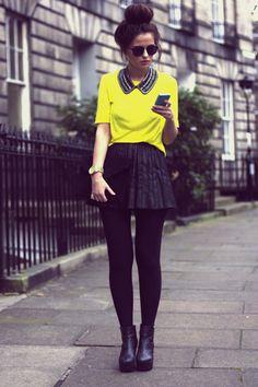 dark black tights, skirt, neon top