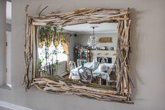 Driftwood Mirror/ Reclaimed Mirror — Montauk Drift Co. Coastal Mirrors, Rustic Mirrors, Barn Wood Projects, Driftwood Projects, Western Decor, Rustic Decor, Driftwood Dining Table, Build A Frame, Driftwood Wall Art