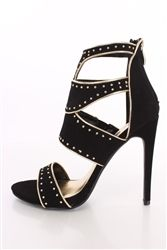 Paprika Sumac Black Studded Single Sole Heels Nubuck
