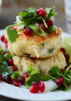 {Lighter} Crispy Crab Cakes with Pomegranate Salsa