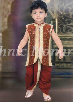 9e979089a Dark Cream Brocade Readymade Dhoti Jacket Modi Jacket, Boys Kurta, Western  Suits, Nehru