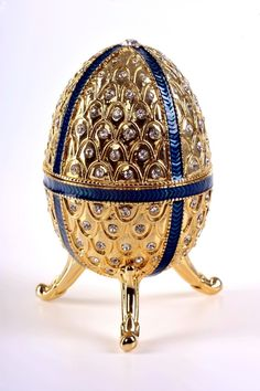 Faberge Musical Egg Trinket Box by Keren Kopal - Swarovski Crystal Jewelry Box - Each item is made of pewter