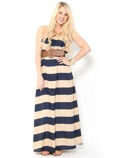 Wide Stripe Belted Maxi Dress