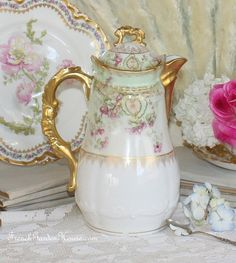 Stunning Antique French Limoges Chocolate Pot Violet Flowers