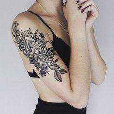 Love this Black Rose Tattoo on Shoulder. 30+ Lovely Flower Tattoo Designs....