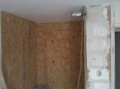 2 - Walk in wardrobe boarded out with OSB board, By Upcycle Interiors Ltd Osb Board, Walk In Wardrobe, Cladding, Building Design, Pallet, Upcycle, Interiors, Flooring, Architecture