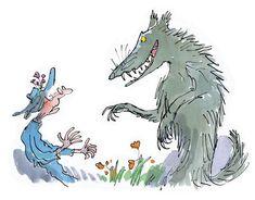 Roald Dahl (1916-1990): Cuento» Caperucita Roja y el Lobo,   por Roald Dah... Art And Illustration, Graphic Design Illustration, Cartoon Kunst, Cartoon Art, Roald Dahl Characters, Book Characters, Quentin Blake Illustrations, Book Illustrations, Revolting Rhymes