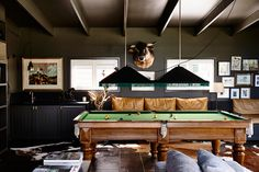Games room few drinks pool and pizza lm a happy girl.S-The black house. A contemporary take on a traditional farm house from Canny Architecture set on the rolling hills of Flinders on the Mornington Peninsula. Black Cladding, Shiplap Cladding, Brown Sofa Set, Australian Architecture, Australian Homes, Game Room Design, Billiard Room, Farmhouse Design, Modern Farmhouse