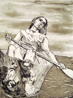 Paula Rego. Steering the Boat. Etching and aquatint.