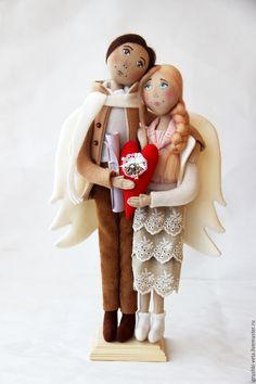 """Купить Ангелы """"И летаем мы только обнявшись..."""" (Вариант с открытыми глазами) - бежевый, любовь, семья"""