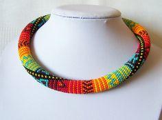 Bright Colors Bead Necklace  Bead Crochet Necklace  by lutita