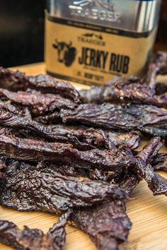 This Smoked Bourbon Jerky is marinated in a brown sugar, bourbon, and chipotle mix, then smoked over oak hardwood for the perfect snack on the road. Jerky Recipes, Traeger Recipes, Smoker Recipes, Grilling Recipes, Brisket Marinade, Smoked Beef Jerky, Sin Gluten, Beef Jerkey, Recipes