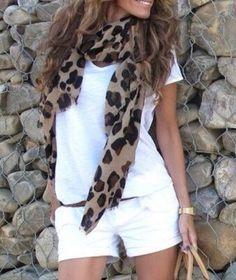 All white everything with a poppin' scarf! Love the leopard. Looks great with that brown hair and golden complexion.I'm thinking Bailey would look great in this outfit Mode Outfits, Short Outfits, Summer Outfits, Casual Outfits, Summer Clothes, Look Fashion, Womens Fashion, Fashion Design, Fashion Trends