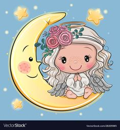 Cartoon Christmas angel is sitting on the moon ,Cute Cartoon Christmas angel is sitting on the moon , Cartoon unicorn in a pilot hat is sitting on the Vector Image Teddy Bear on the Moon - Animals Characters Portfólio de fotos e imagens stock de Angel Cartoon, Cartoon Tiger, Cartoon Unicorn, Moon Cartoon, Girl Cartoon Characters, Cute Cartoon Girl, Fictional Characters, Art Drawings For Kids, Cute Drawings