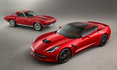 Sting Ray and Stingray: 1962 to 1967 in the back and the newest Vette just released at the Detroit Motor Show
