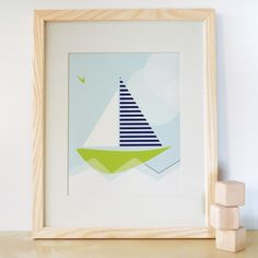 8x10 Sail Boat Print  Green/Navy Blue by trendypeas on Etsy