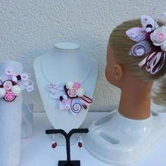 Parure mariage enfant 3 pièces orchidée blanc  et turquoise