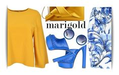 """652963"" by maritza-ade ❤ liked on Polyvore featuring STELLA McCARTNEY, Casadei, Versace, N°21, The Row, Blue, sunglasses, mules and marigold"