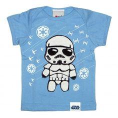 Morfs Brand Star Wars Collection! ♥     Short Sleeve, White/Blue/Black     STORMTROOPER on front of shirt     STAR WARS Logo on back
