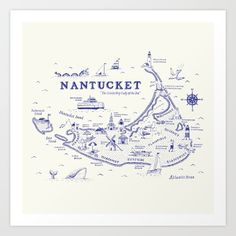 Vintage-inspired, hand-lettered, illustrated map of Nantucket. Keywords- nautical, maps, sea monster, illustration, beach, summer
