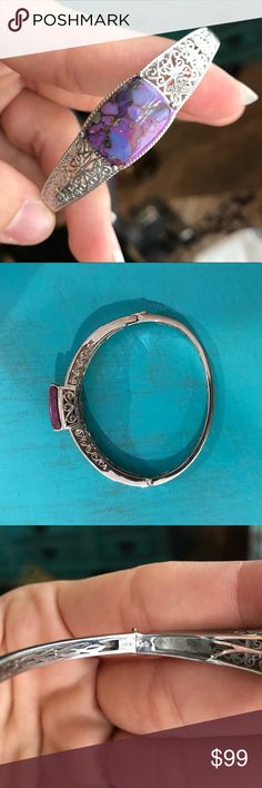 Sterling and purple turquoise bracelet This is a gorgeous bracelet! It's purple turquoise and sterling silver with some filigree work on the sides. There is a slight bend to the band but it's not noticeable when wearing. Normal scratches from wear but otherwise in great condition! 🖤 Jewelry Bracelets