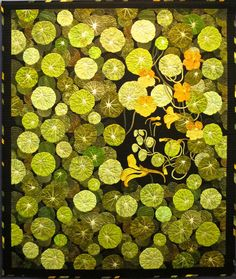 "And some of the subjects felt poignantly Japanese, and I was susprised when the artist wasn't. (""Garden Nasturtium"" by Jungsun Jung) Quilt Modernen, Flower Quilts, Landscape Quilts, Contemporary Quilts, Applique Quilts, Wool Applique, Mellow Yellow, Quilting Designs, Textile Art"