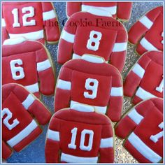 Ten Red & White Jerseys | Cookie Connection Glazed Sugar Cookies by Robin Traversy {The Cookie Faerie}.