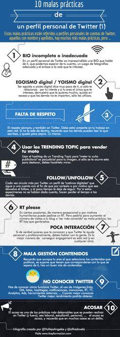 10 malas prácticas de un perfil personal de Twitter (I). #infografia