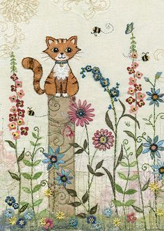Kitten Post - Bug Art greeting card