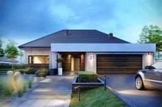 House Fertighaus bungalow mit garage How A Pendulum Works to Keep Time (Part Up until about the 1 Modern Family House, Modern Bungalow House, Bungalow House Plans, Modern House Plans, House Front Design, Small House Design, Home Building Design, Building A House, One Storey House
