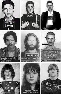 Mug shots of Frank Sinatra Elvis Presley Johnny Cash Jimi Hendrix Jim Morrison David Bowie Mick Jagger Janis Joplin and Kurt Cobain. Janis Joplin, Rock Roll, Rock N, The Rock, David Bowie Mick Jagger, Elvis Presley, Franck Sinatra, Rock Poster, Johnny Cash