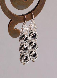 Captured Gemstone Bead Chainmaille Earrings Black Obsidian