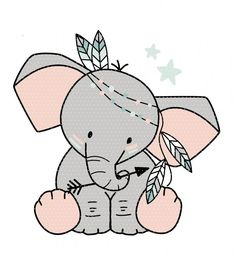 Plottervorlage Boho Elefant – The World Cute Animal Drawings Kawaii, Kawaii Drawings, Cute Drawings, Embroidery Stitches, Embroidery Patterns, Scrapbooking Image, Painting Templates, Elephant Love, Animal Wallpaper