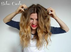 How to Create Boho Curls - just pull each curl straight as it cools off after you release it from the iron! Gotta try this