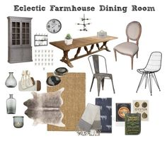 """""""Rustic French Farmhouse Dining Room"""" by ida-hippygirl on Polyvore featuring interior, interiors, interior design, home, home decor, interior decorating, LINLEY, Shoreditch, Classic Home and Dot & Bo"""