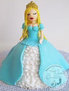 tarta fondant princesa azul