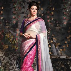 Off White and #Pink Net and Viscose #Saree with Blouse