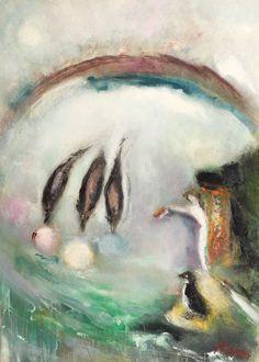 Jocul delfinilor MARGARETA STERIAN 1897, Buzău - 1992, București ulei pe PFL, 42 × 29 cm, semnat dreapta jos, cu roşu, Sterian Valoare estimativă: € 1.500 - 2.500 Paintings, Artist, Paint, Painting Art, Artists, Painting, Painted Canvas, Drawings, Grimm