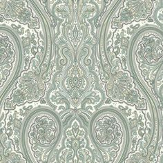 Sample Paisley Wallpaper in Aqua and Metallic design by York Wallcoverings