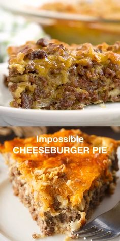 Impossible Cheeseburger Pie - Super easy and delicious! This yummy recipe is full of cheesy beefy flavor that everyone loves. Super easy and delicious! This yummy recipe is full of cheesy beefy flavor that everyone loves. Hamburger Dishes, Bisquick Hamburger Pie, Easy Hamburger Meat Recipes, Supper Ideas With Hamburger, Sausage Meat Recipes, Diced Beef Recipes, Taco Pie Recipes, Chicken Recipes, Homemade Hamburger Helper