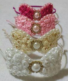 This post was discovered by Az Diy Ribbon, Ribbon Work, Ribbon Crafts, Diy Headband, Baby Headbands, Satin Flowers, Flowers In Hair, Little Girl Crafts, Bandana