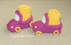 Paso a paso: cómo tejer botitas con diseño de auto en dos agujas o palitos para bebés!