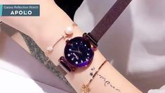 Galaxy Reflections Watch : Space and time come together in sparkling style! Our feminine Lotus Galaxy Reflections Watch showcases an analog display on a starry sky. Stylish Watches For Girls, Trendy Watches, Cute Watches, Elegant Watches, Beautiful Watches, Watches For Men, Cheap Watches, Wrist Watches, Rose Gold Watches