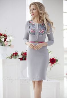 """Knitted grey dress """"Avdotya"""" in the Russian style by Olesya Masyutina. with Pavlovo-Posad shawl! Midi dress. 900 models of women knitted and fabric dresses and suits for every day, evening and wedding"""