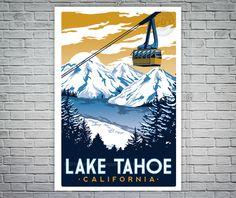 Lake Tahoe Vintage Travel Poster by RetroScreenprints on Etsy https://www.etsy.com/listing/478983302/lake-tahoe-vintage-travel-poster