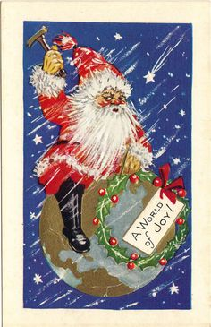 Antique Christmas Santa Postcard - Joy To The World - Embossed - Blue.