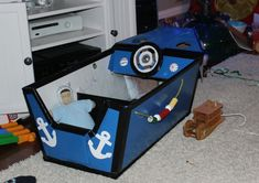 Fishing Boat Made From Cardboard Box