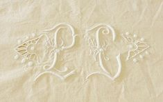 Linen Dowry Sheet, Linen Sheet 117 x 82 Ins, Unused, Circa Beautiful Embroidery, Monogram P. by AntiqueFrenchLinen on Etsy